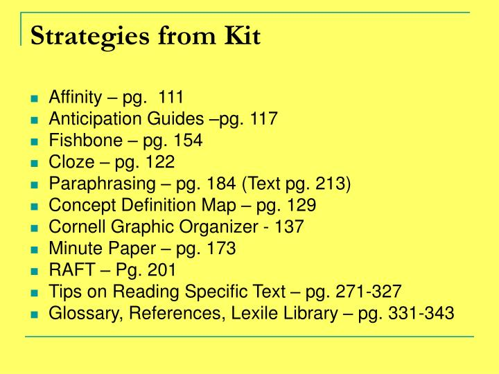 Strategies from Kit