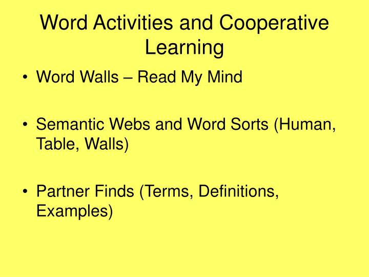 Word Activities and Cooperative Learning