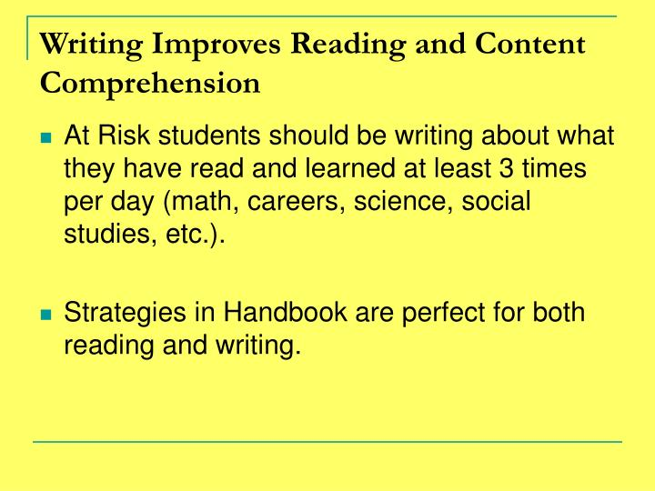 Writing Improves Reading and Content Comprehension