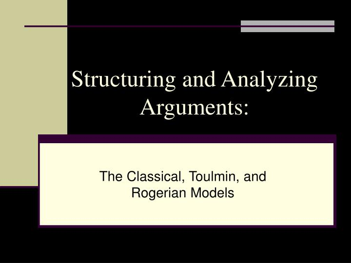 structuring and analyzing arguments n.