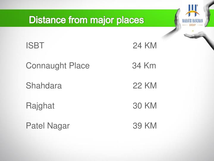 Distance from major places
