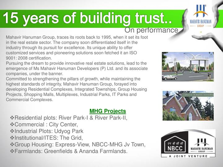 15 years of building trust..