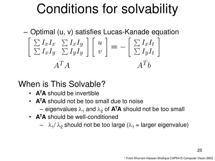 Conditions for solvability
