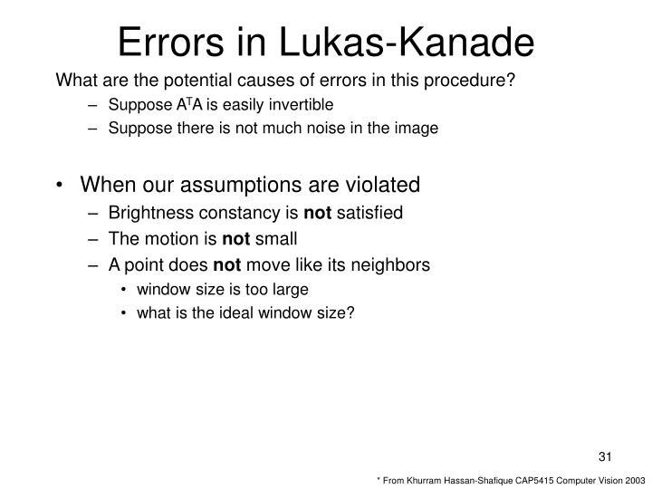 Errors in Lukas-Kanade