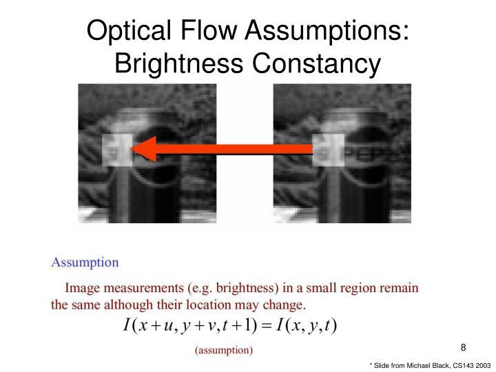 Optical Flow Assumptions: