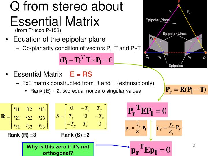 Q from stereo about essential matrix