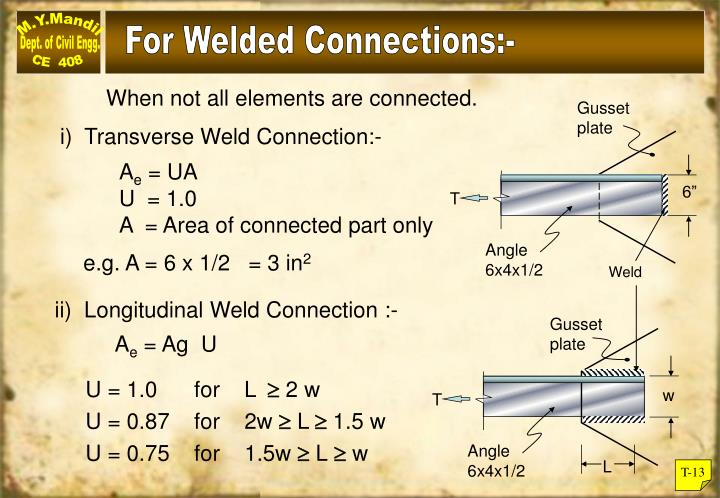 For Welded Connections:-