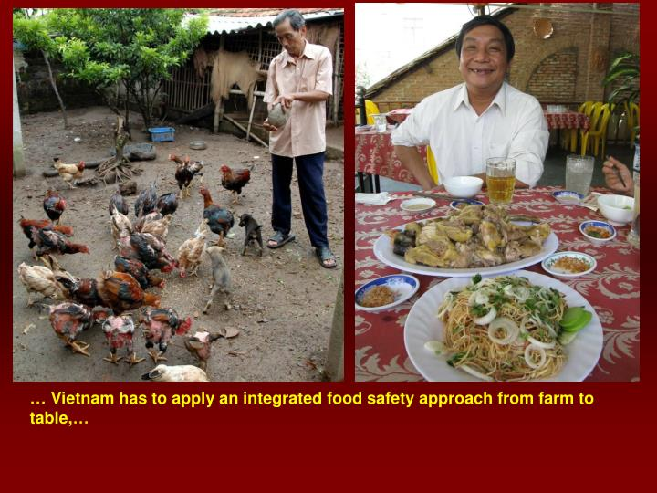 … Vietnam has to apply an integrated food safety approach from farm to table,…