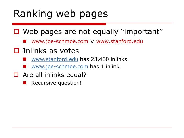 Ranking web pages