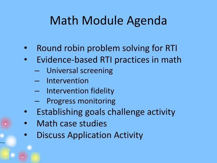 Math Module Agenda