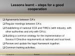 lessons learnt steps for a good cooperation