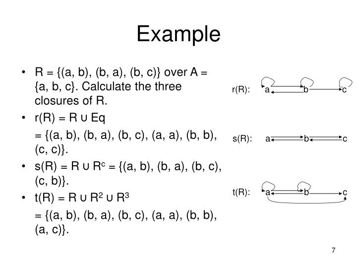 R = {(a, b), (b, a), (b, c)} over A = {a, b, c}. Calculate the three closures of R.