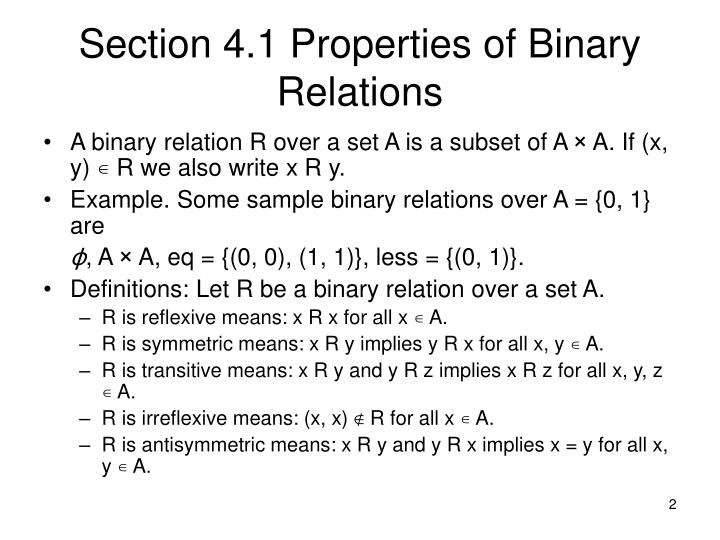Section 4 1 properties of binary relations