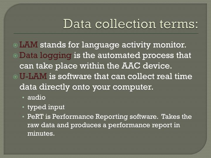 Data collection terms:
