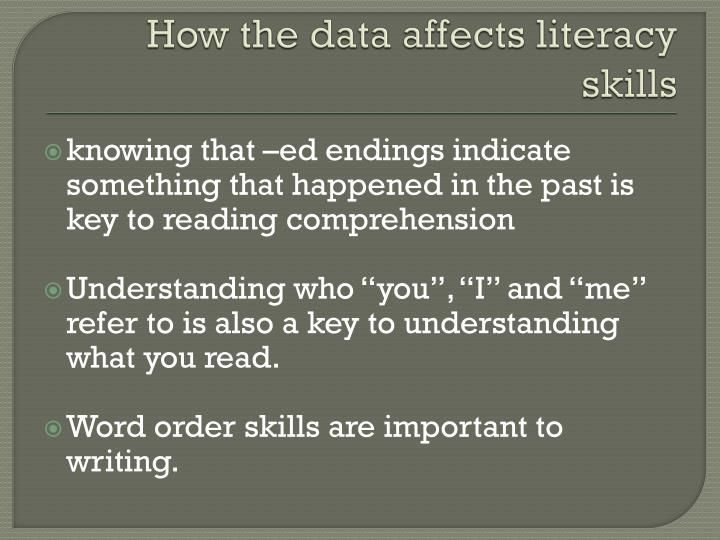 How the data affects literacy skills