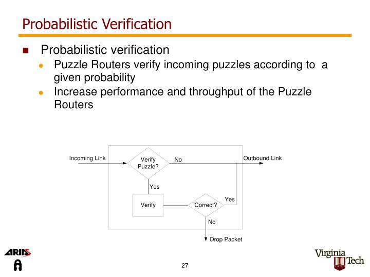 Probabilistic Verification
