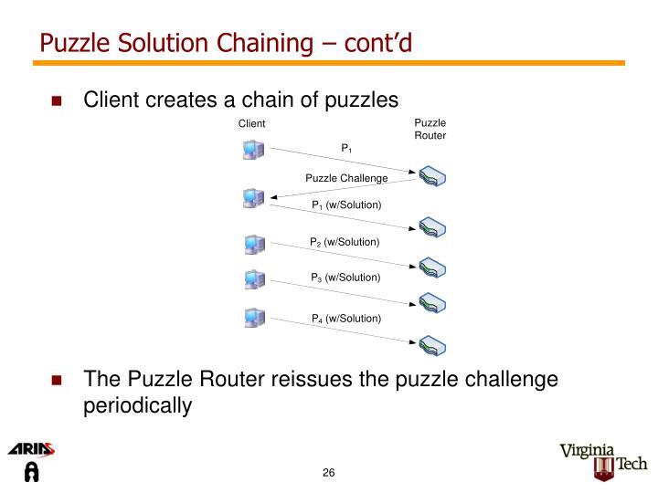Puzzle Solution Chaining – cont'd
