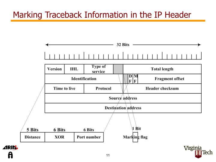 Marking Traceback Information in the IP Header