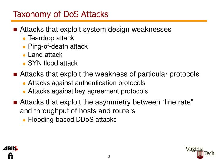 Taxonomy of dos attacks