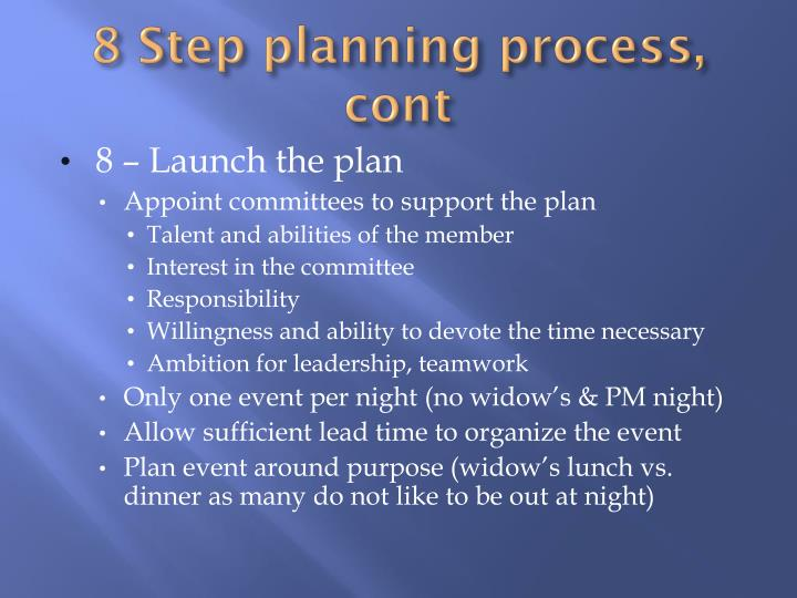 8 Step planning process,