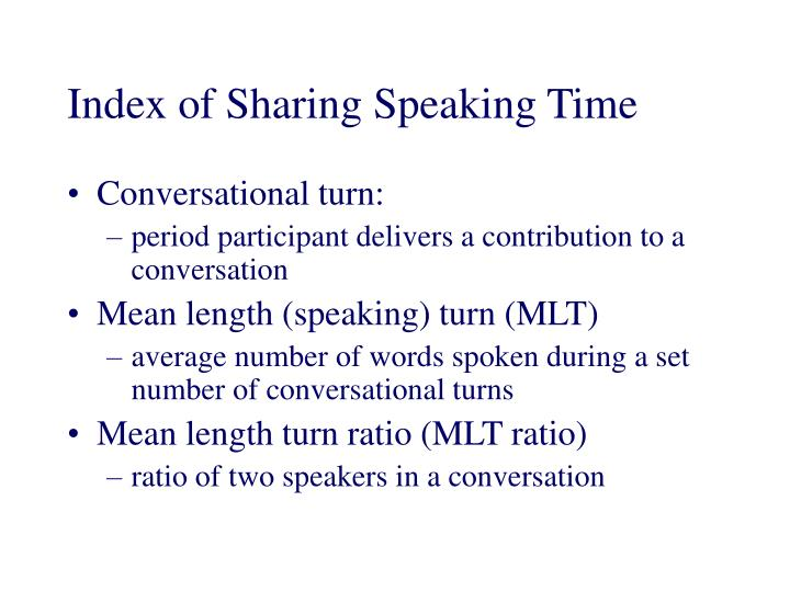 Index of Sharing Speaking Time