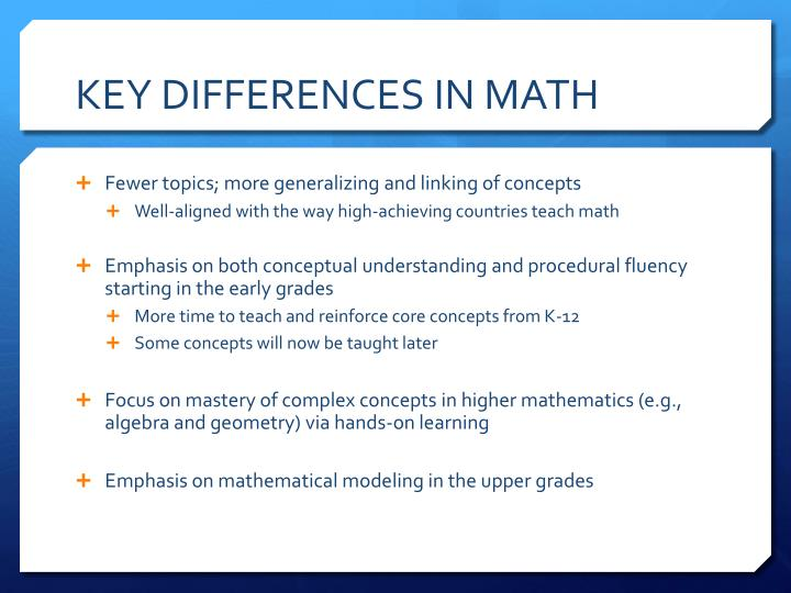 Key differences in math