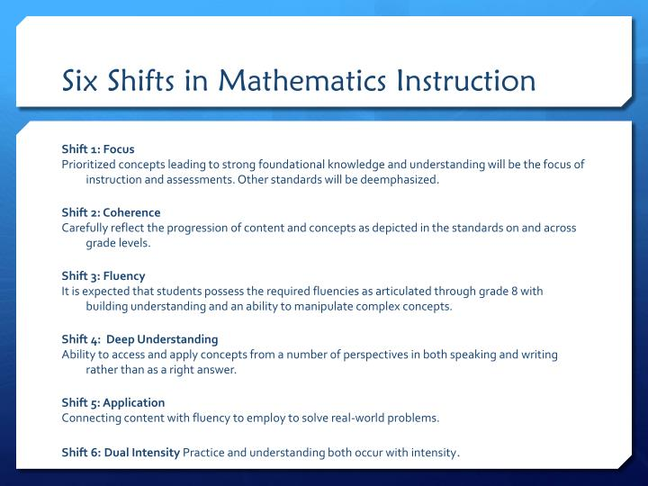 Six Shifts in Mathematics Instruction