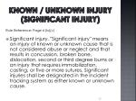 known unknown injury significant injury
