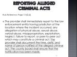 reporting alleged criminal acts1