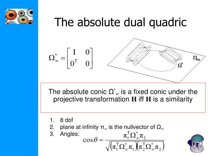 The absolute dual quadric