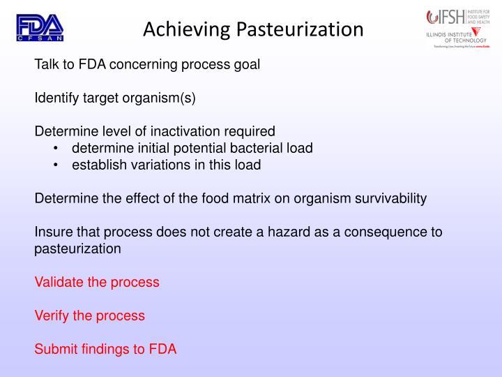 Achieving Pasteurization