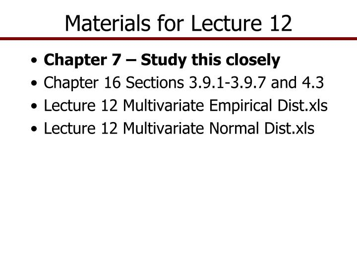 materials for lecture 12 n.