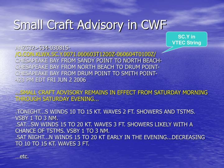 Small Craft Advisory in CWF