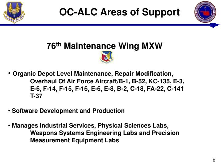 OC-ALC Areas of Support
