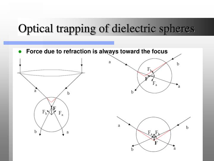 Optical trapping of dielectric spheres