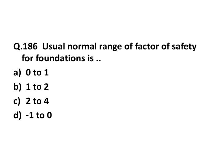 Q.186  Usual normal range of factor of safety for foundations is ..
