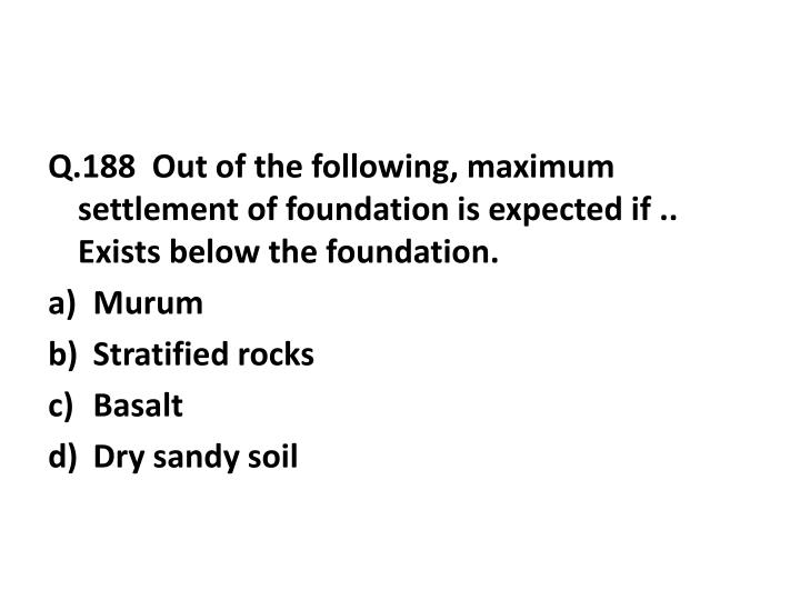 Q.188  Out of the following, maximum settlement of foundation is expected if .. Exists below the foundation.
