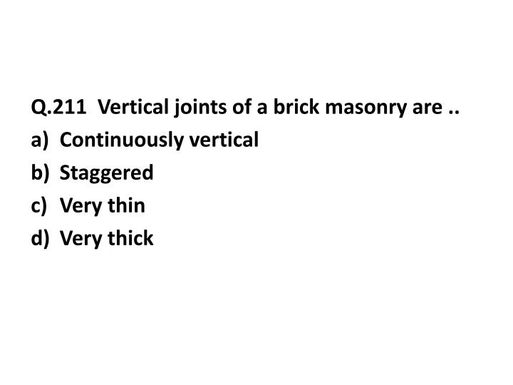 Q.211  Vertical joints of a brick masonry are ..
