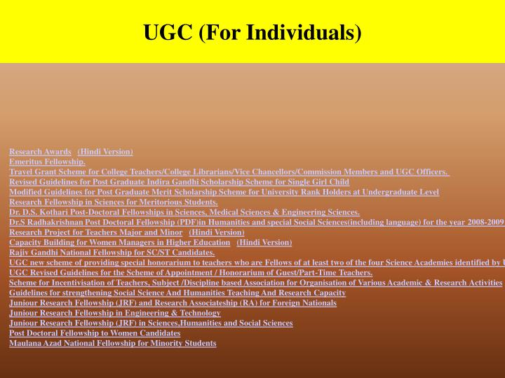 UGC (For Individuals)