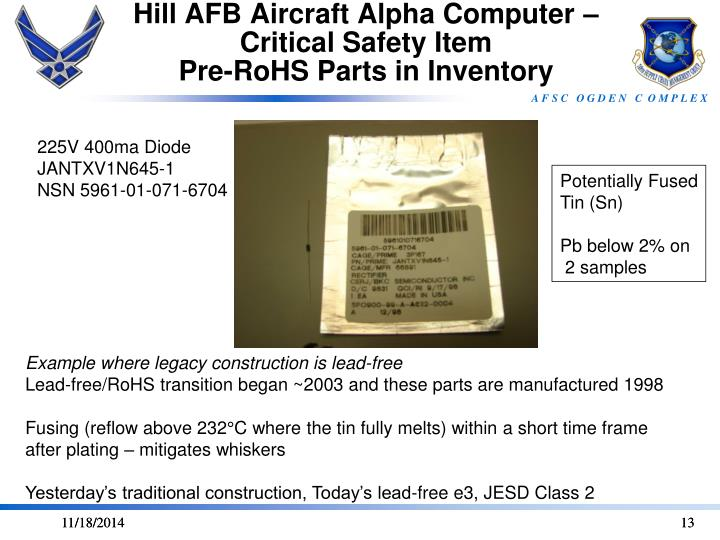Hill AFB Aircraft Alpha Computer – Critical Safety Item
