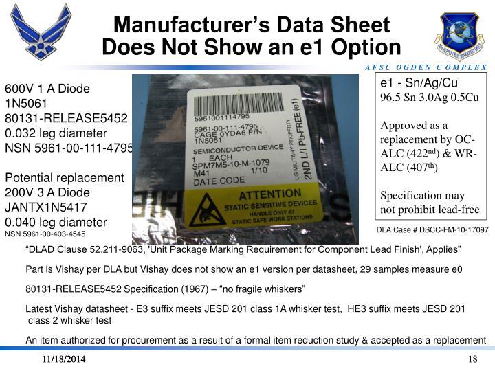 Manufacturer's Data Sheet Does Not Show an e1 Option