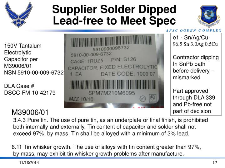 Supplier Solder Dipped Lead-free to Meet Spec