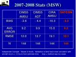 2007 2008 stats msw