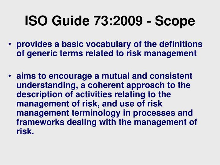 ppt as nzs iso 31000 2009 iso iec 31010 amp iso guide 73 2009 rh slideserve com iso guide 73 pdf iso guide 73 vocabulary