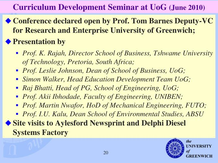 Curriculum Development Seminar at