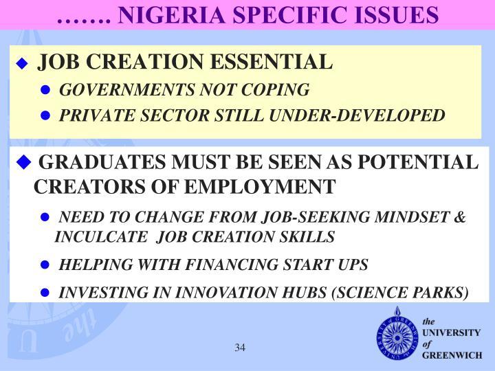 ……. NIGERIA SPECIFIC ISSUES