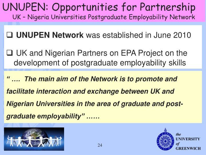 UNUPEN: Opportunities for Partnership