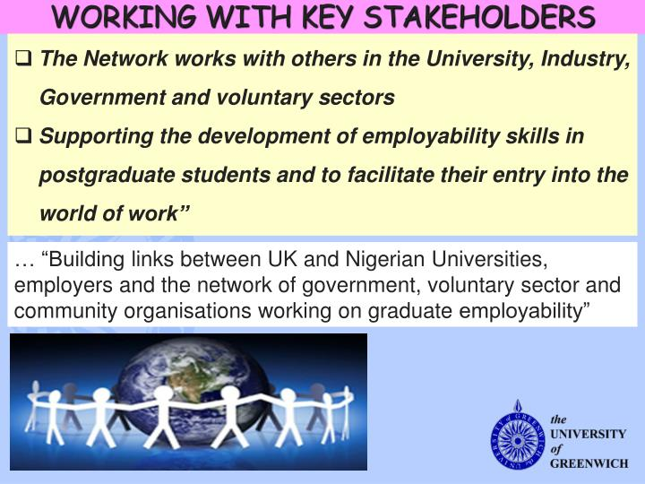 WORKING WITH KEY STAKEHOLDERS