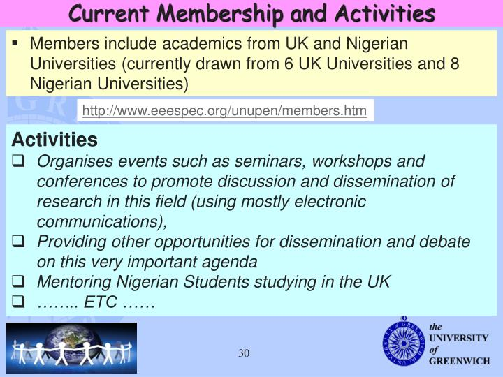 Current Membership and Activities