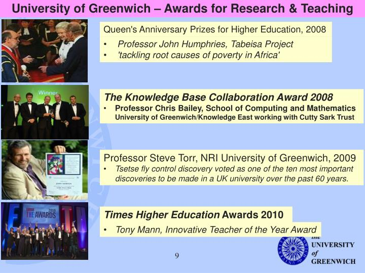 University of Greenwich – Awards for Research & Teaching